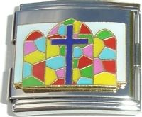 CT5018 Cross on Stained Glass Mega Italian Charm