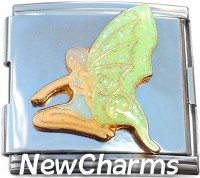 CT5033 Fairy with Green Wings Mega Italian Charm