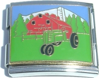 CT5067 Red Barn and Green Tractor Mega Italian Charm