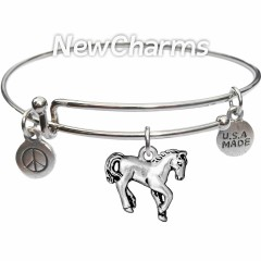 Bangle Bracelet with JT151 Silver Horse