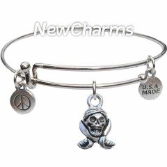 Bangle Bracelet with JT155 Pirate Skull