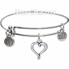 Bangle Bracelet with JT229 Silver Jubilee Open Heart