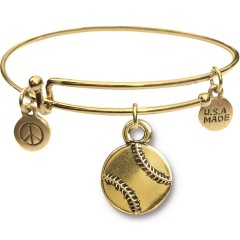 Goldtone Bangle Bracelet and Baseball JT309