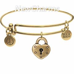 Bangle Bracelet with JT208 Gold Heart Lock