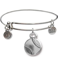 Silvertone Bangle Bracelet and Baseball JT308