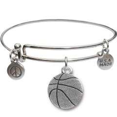 Silvertone Bangle Bracelet and Basketball JT312