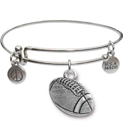 Silvertone Bangle Bracelet and Football JT310