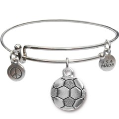 Silvertone Bangle Bracelet and Soccer Ball JT314