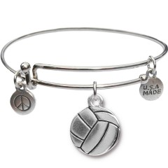 Silvertone Bangle Bracelet and Volleyball JT316