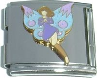 CT5034 Fairy in Purple with Blue Wings Mega Italian Charm