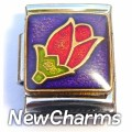 13mmCT048 Tulip On Purple 13mm Italian Charm