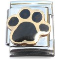 13mmT310 Black Dog Paw 13mm Italian Charm