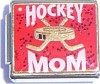 CT9112 Hockey Mom on Red Italian Charm