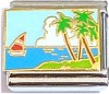 CT9182 Sail Boat and Palm Tree Italian Charm