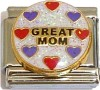 Great Mom with Hearts Italian Charm