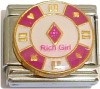 Rich Girl on Casino Chip Italian Charm