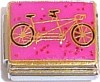 Tandem Bike for Two on Pink Italian Charm