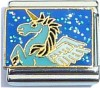 Unicorn on Blue Glitter Italian Charm