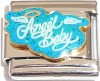 CT6110 Angel Baby on Teal Glitter Italian Charm