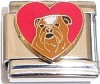 CT6122 Dog on Red Heart Italian Charm