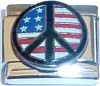 CT6178 USA Flag in Peace Sign Italian Charm