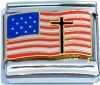 CT6214 Cross on USA Flag Italian Charms