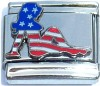 CT6215 USA Flag on Woman Silhouette Italian Charm