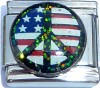 CT6221 USA Flag in Peace Sign with Glitter Italian Charm