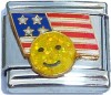 USA Flag with Glitter Smilie Face Italian Charm