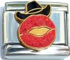 CT6381 Cowboy Hat and Lips with Glitter Italian Charm
