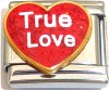 True Love on Red Heart with Glitter Italian Charm