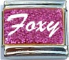 CT6553 Foxy on Pink with Glitter Italian Charm
