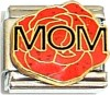Mom Red Flower Italian Charm