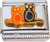 CT9456 Orange And Black Cats Italian Charm