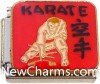 CT9483 Karate On Red Italian Charm