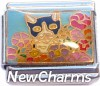 CT9717 Cat with Flowers Italian Charm