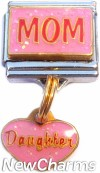 CT9727 Mom on Pink Dangle Italian Charm