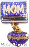 CT9728 Mom on Purple Dangle Italian Charm