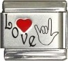 Love with Sign Language Italian Charm
