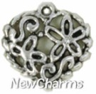 JS104 Silver Floral Heart ORing Charm