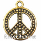 JT112 Gold Peace Sign ORing Charm