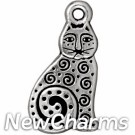 JT163 O-Ring Dangle Silver Spiral Cat