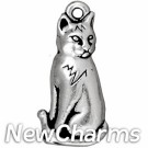 JT197 Silver Sitting Cat O-Ring Charm