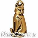JT198 Gold Sitting Cat O-Ring Charm