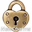 JT208 Gold Heart Lock O-Ring Charm