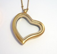 AX114 Curvy Heart Locket Brushed Gold with Necklace