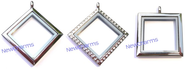 Diamond and Square Shaped Stainless Steel Floating Lockets