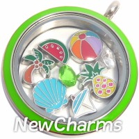 TS10  Twist Stainless Steel Silver Big Round Loose Floating Locket