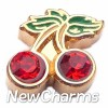 H1059 Cherries With CZ Stones Floating Locket Charm