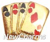 H1067 Aces Playing Cards Floating Locket Charm